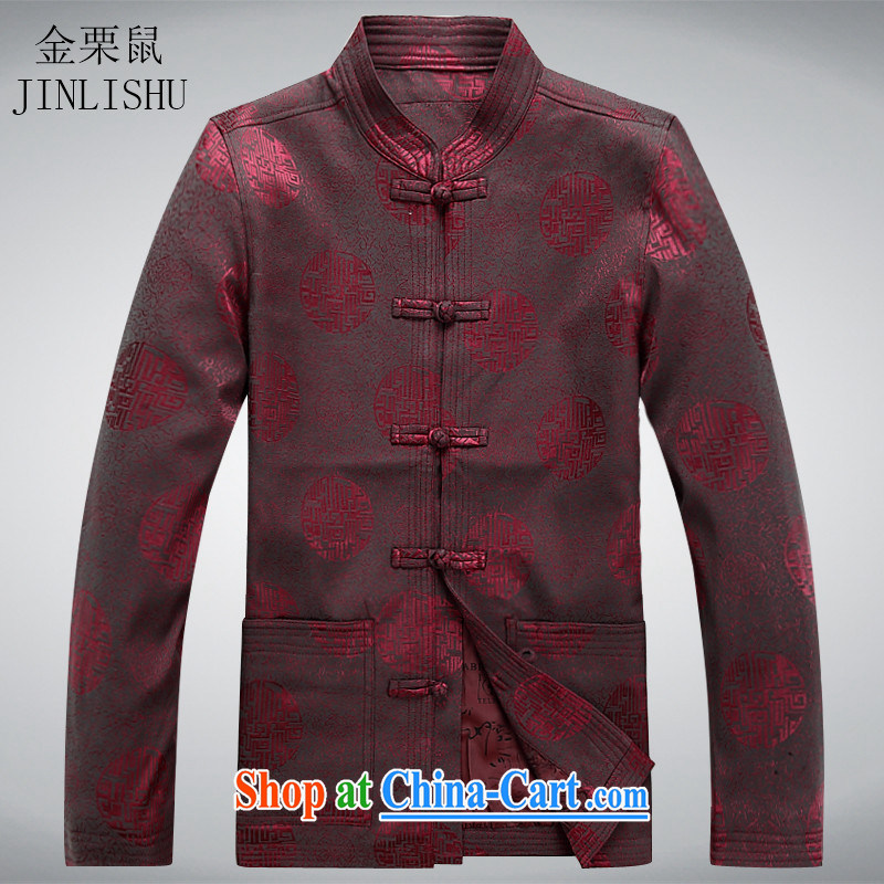 The chestnut mouse 2015 new men and Tang with older persons in Chinese�men's long-sleeved T-shirt men's Chinese jacket coat red XXXL