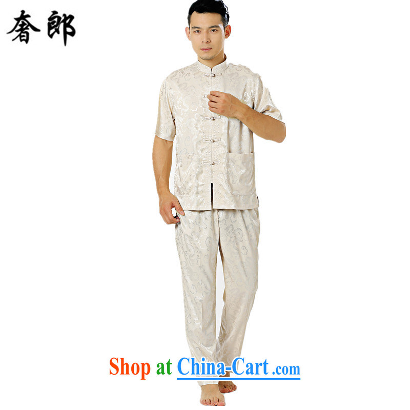 Luxury health summer New Silk ethnic costume hand-tie men's short-sleeved Zhongshan collar, collar short sleeve installed in father older leisure Tang with jogging Tai Chi clothing beige 170