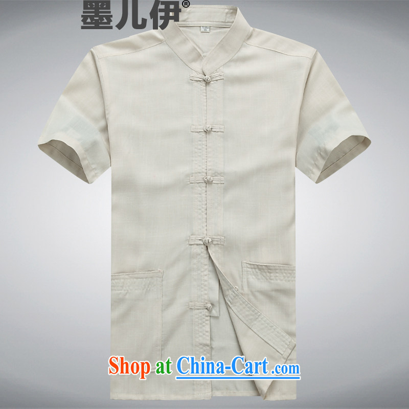 Men's Chinese short-sleeve spring and summer with the older persons linen Tang replace short-sleeve cotton the morning exercise with leisure package Han-kung fu shirt beige XXXL