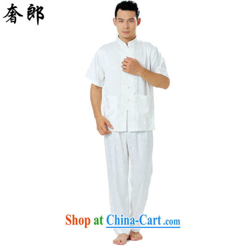 Luxury health summer New Men's short-sleeved dress Chinese silk middle-aged and older, straight for the code father men's Tang is manually for the morning exercise Tai Chi clothing white 185, extravagance, and shopping on the Internet