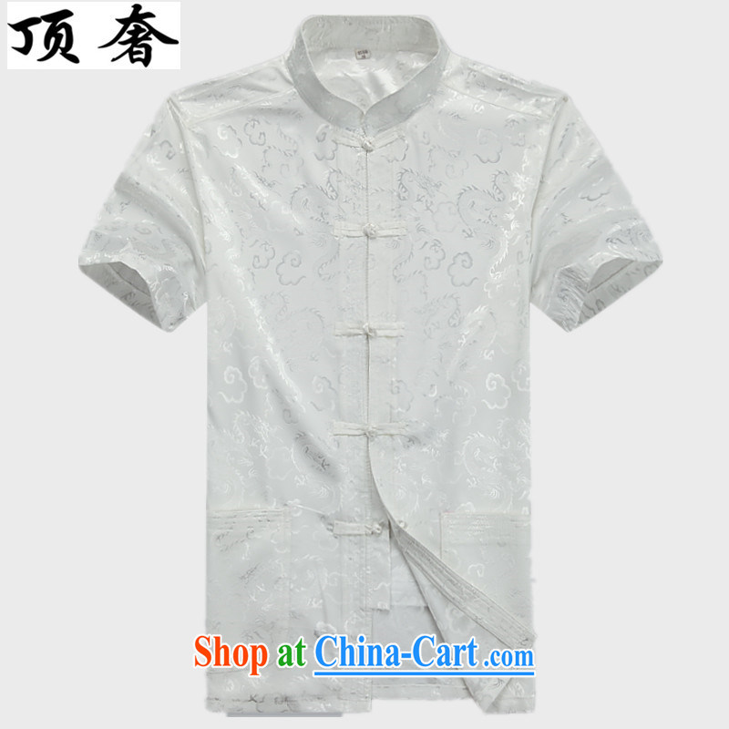 Top Luxury men's short-sleeved short summer load in older cotton the Tang Mounted Kit, served short-sleeved shirt Grandpa summer jackets T-shirt men's kung fu uniforms jogging Kit white package 175, the top luxury, shopping on the Internet