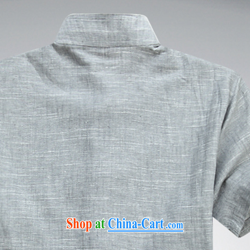 2015 new linen men's Chinese T-shirt with short sleeves Chinese clothing summer shirts, older Chinese light gray XXXL, the child (MORE YI), shopping on the Internet