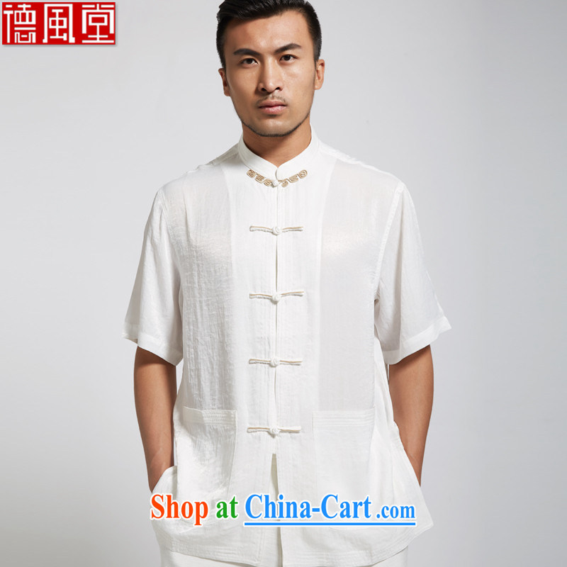 De-Tong Zhi, summer 2015 new polyester men's Chinese short-sleeved Chinese clothing white 4XL