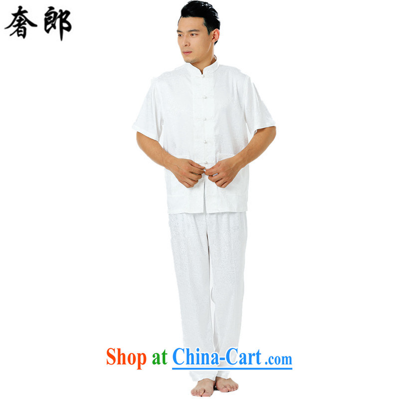 Luxury health men's Tang replace short-sleeved summer the older Chinese Tang replacing men manual tray snap Tang with Sauna silk shirt shirt pants national costume Tai Chi uniform white 185