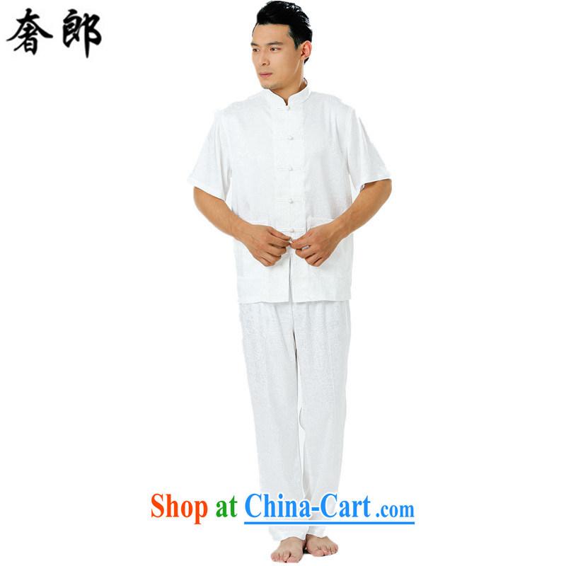 Luxury health men's Tang replace short-sleeved summer the older Chinese Tang replacing men manual tray snap Tang with Sauna silk shirt shirt pants national costume Tai Chi uniform white 185