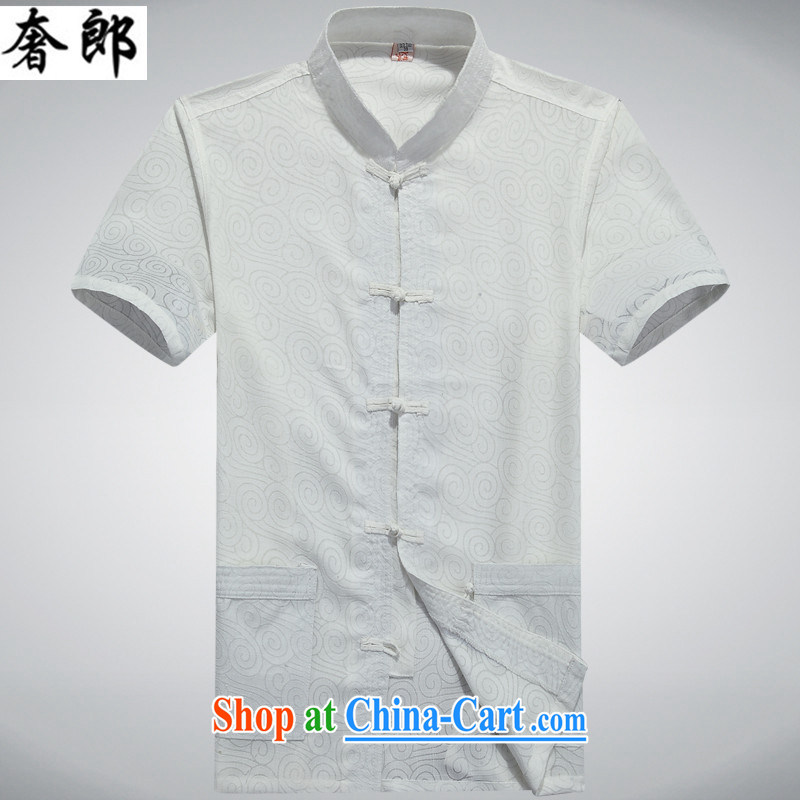 Luxury health New Products men's linen Chinese men and a short-sleeved, for summer wear cotton Ma T-shirt men's Chinese Han-men and national costumes China wind, old dad T-shirt with white XXXL