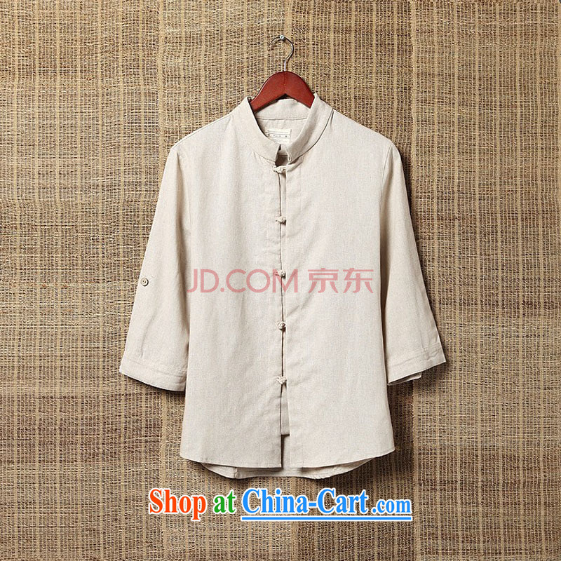 M 2M 2015 summer China wind Chinese linen shirt 7 T-shirt, T-shirt and light beige 4XL