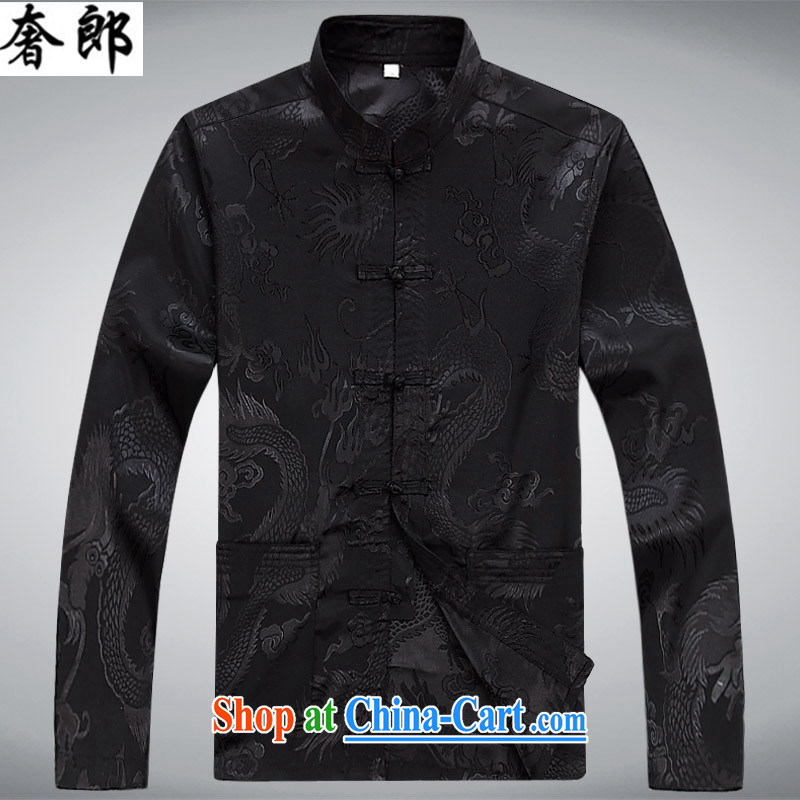 Luxury health men's long-sleeved T-shirt middle-aged and older persons Chinese Tang on the Spring Summer autumn silk Chinese men's long-sleeved T-shirt and China wind Han-Manual-tie kit black XXL