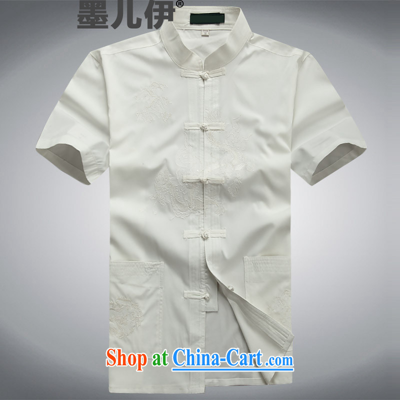 Summer male Chinese T-shirt with short sleeves, elderly Chinese men and Chinese casual dress men and white XXXL