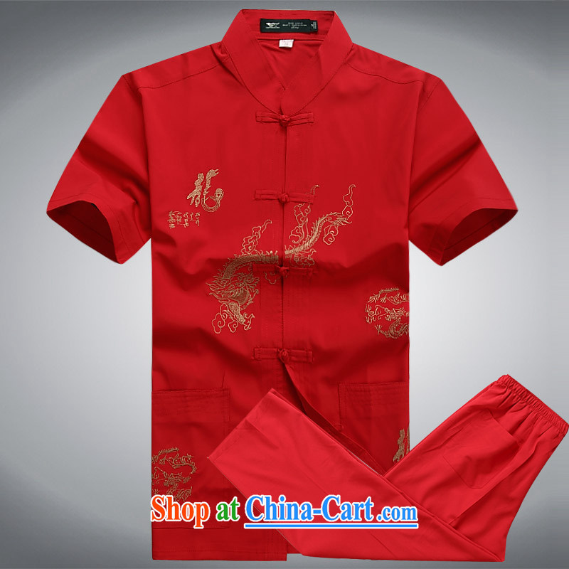 2015 men's summer New Tang fitted short-sleeved Tang replacing older half sleeve Chinese men and a short-sleeved Tang package red a XL