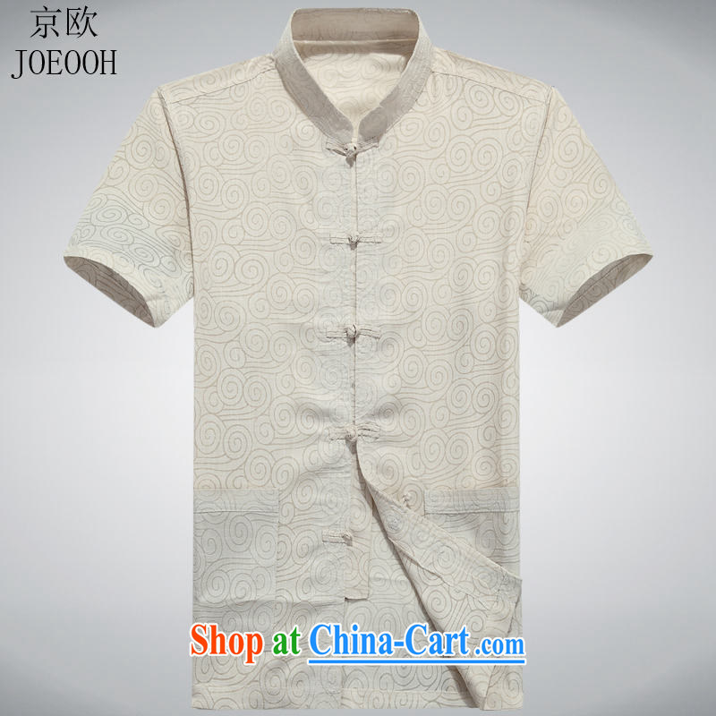 Putin's European Chinese cotton Ma Man Tang with older persons in Yau Ma Tei cotton short-sleeved Chinese wind male Chinese summer beige XXXL