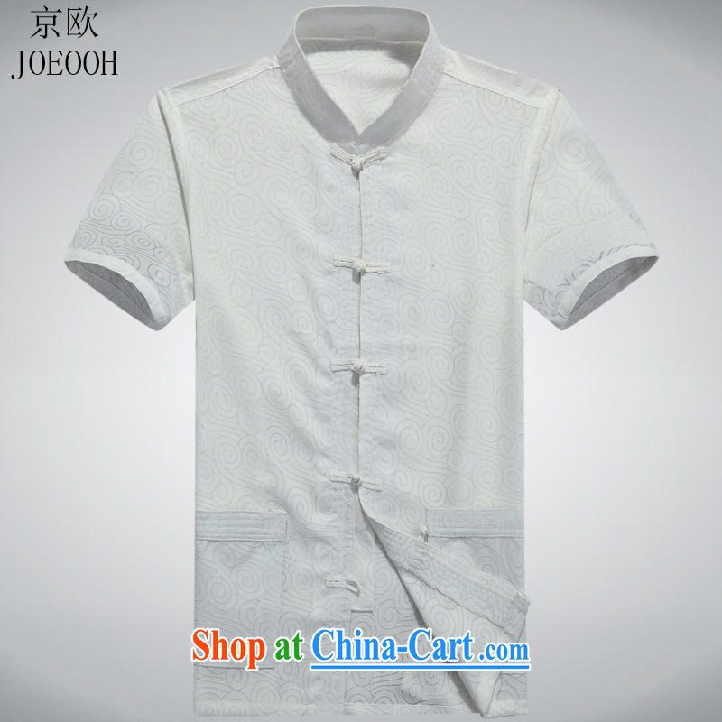 Putin's European men's summer shirt clothing leisure Chinese middle-aged Chinese men and national costumes white XXXL