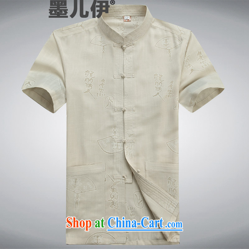 Middle-aged and older Chinese men and Chinese wind father with Chinese linen summer cotton Ma short-sleeved Chinese male Kit Tai Chi uniforms and indeed intensify, father with beige L