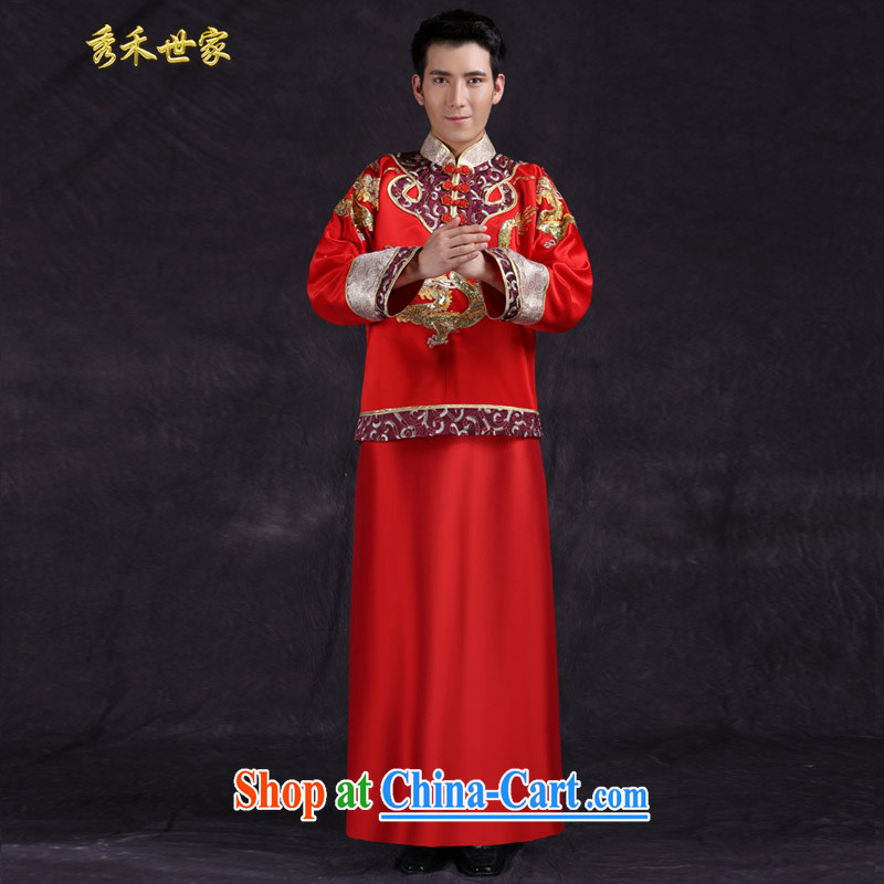 Su-wo service men's summer Chinese men married dresses new unbroken bows dresses of the Chinese Generalissimo costumes red L