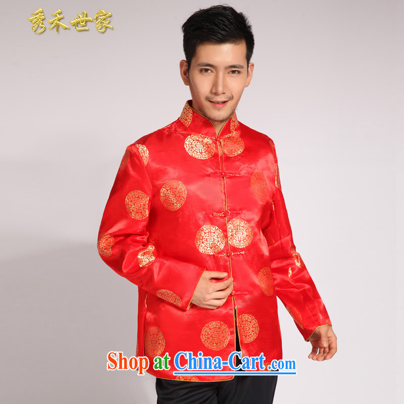 Su-wo saga men's new summer Chinese wedding red married men and Chinese-su Wo service smock dress the groom toast wedding dresses red S