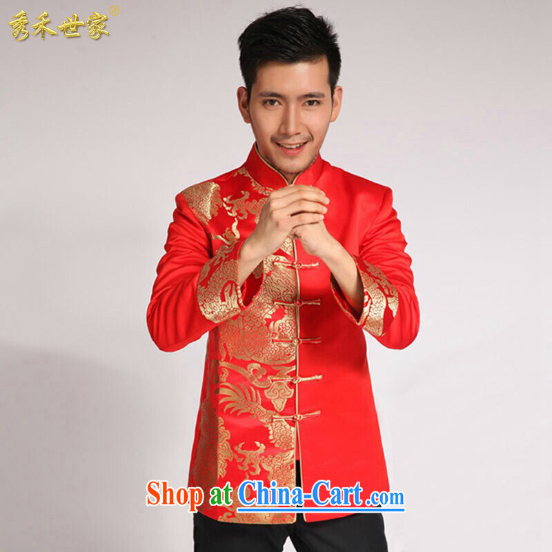 Cyd Ho Sau-wo family men and replacing the groom Chinese Chinese wedding dress-su Wo service men and the groom the men's costumes costume show and the suit, T-shirt large red M