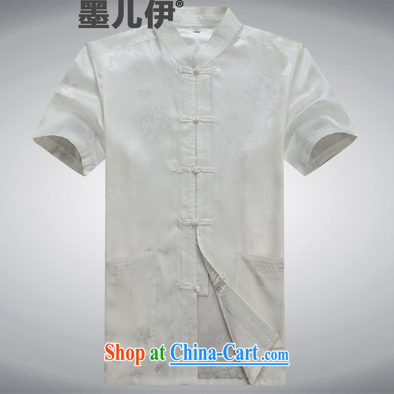 Middle-aged and older Chinese men and older persons summer With Grandpa men short sleeve with Ethnic Wind father black white A S