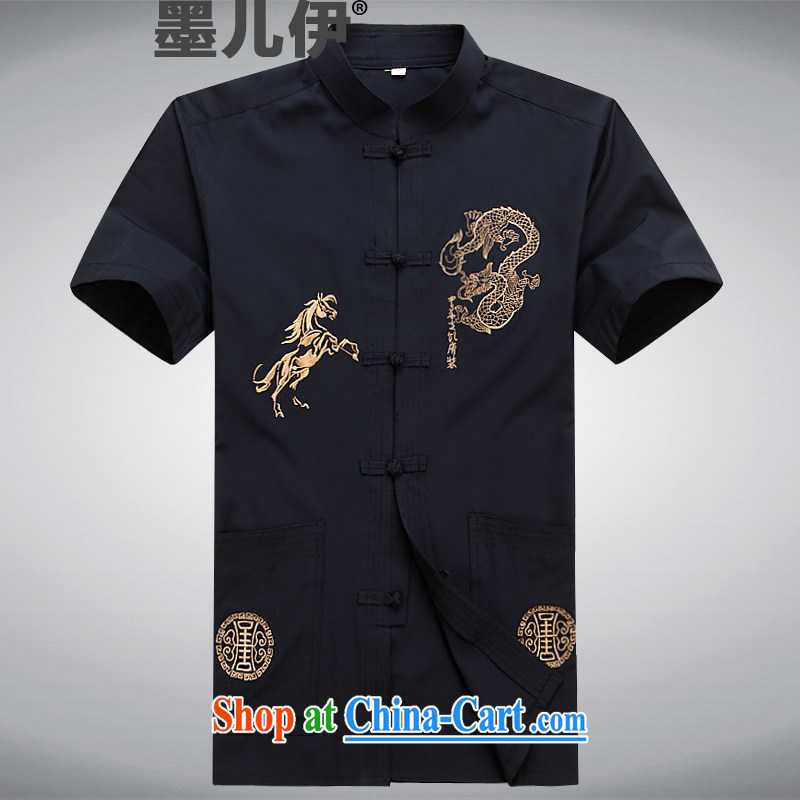 new short-sleeved Tang in older men casual summer Chinese clothing elderly ethnic wind dark blue XXXL