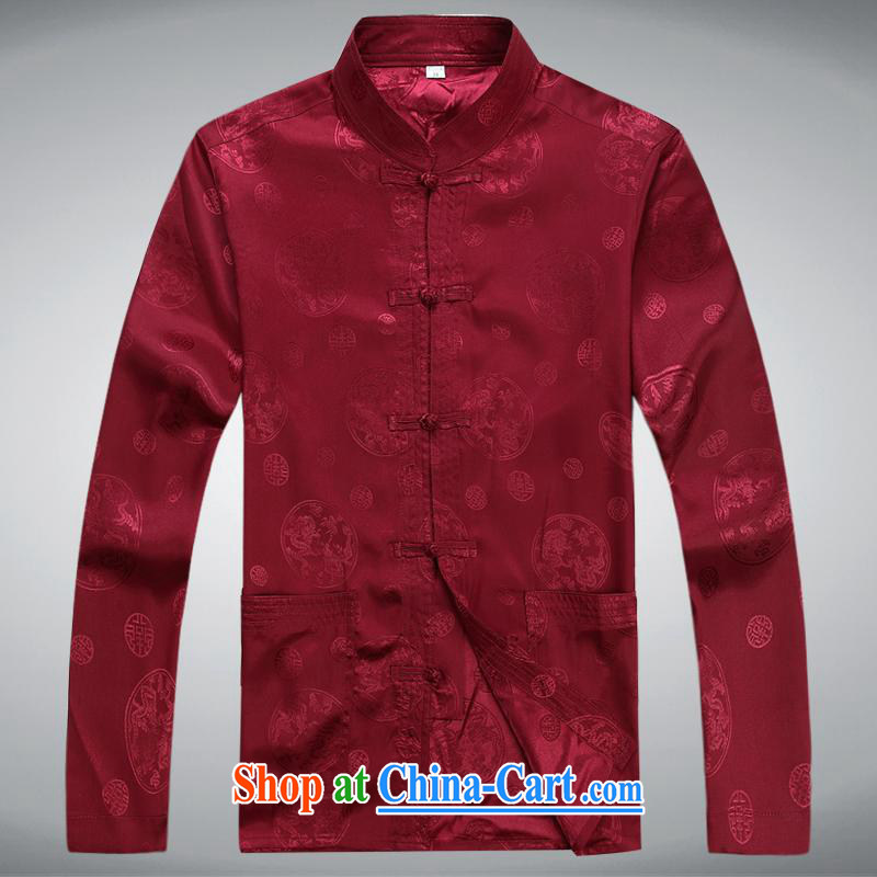 100 brigade BaiLv summer stylish thin, for comfortable long-sleeved tray snap Leisure package deep red XXXL
