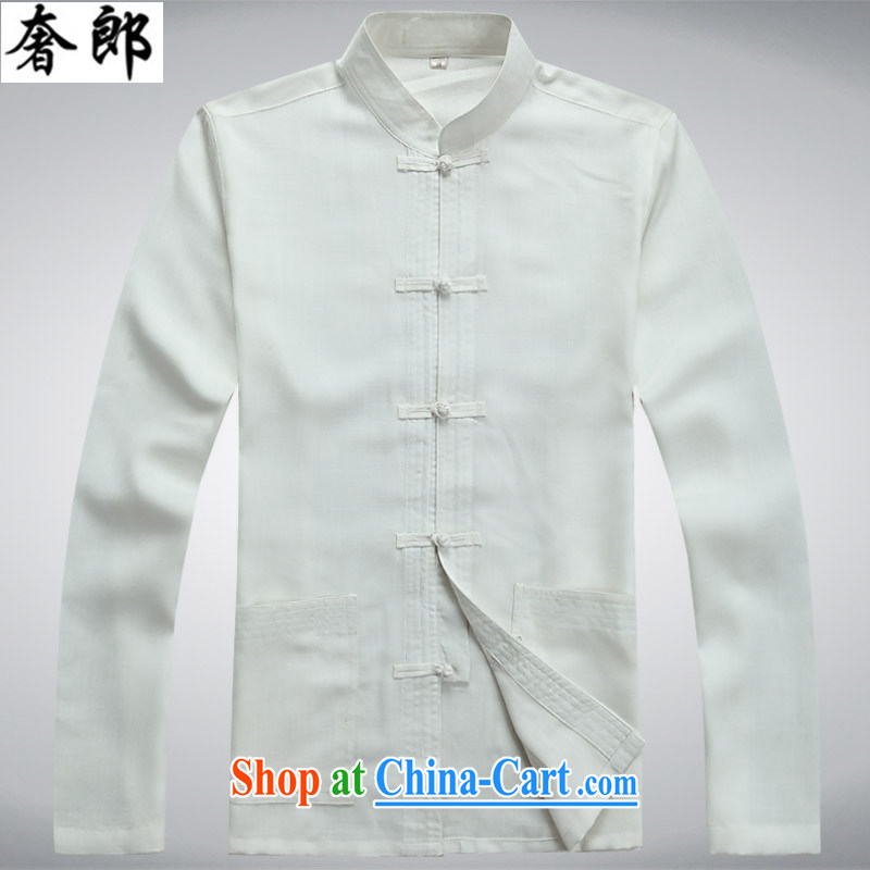 extravagance, new Chinese men's short-sleeve kit cotton the Chinese men's summer linen shirt Dad loaded the code national costumes national China wind leisure Chinese Tai Chi clothing white package XL