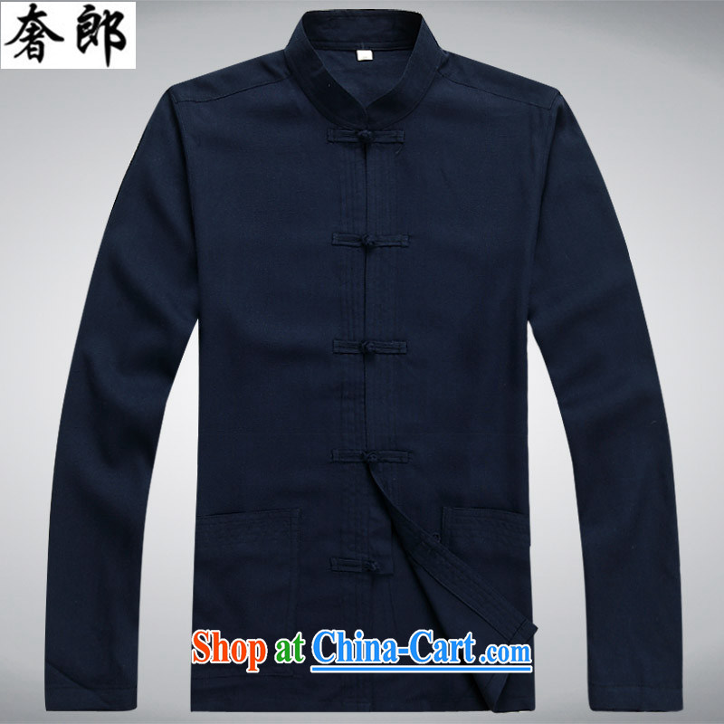 extravagance, Chinese style in a new paragraph in summer older Chinese long-sleeved T-shirt men's Chinese leisure cotton mA short-sleeved Chinese elderly in my father the morning exercise home service Han-blue suit XL
