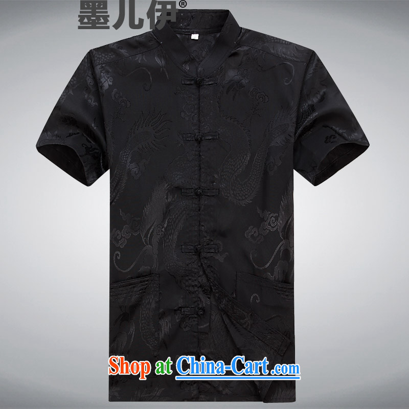 Tang replace short-sleeve 2015 New Men's National wind-buckle older Chinese T-shirt Dad men Tang black XXXL
