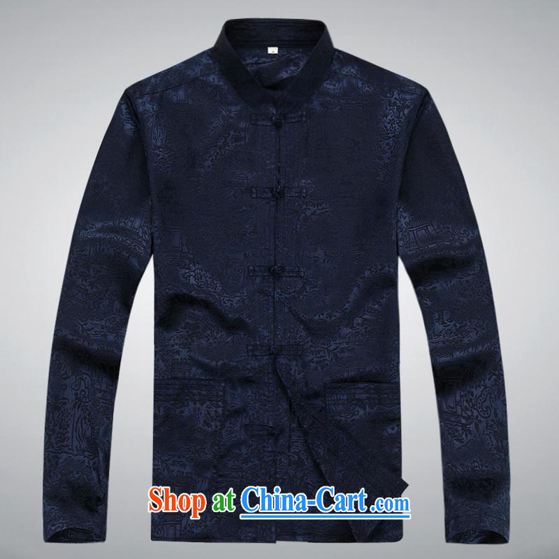 100 brigade BaiLv summer stylish thin, for comfortable long-sleeved tray snap Leisure package deep blue XXL