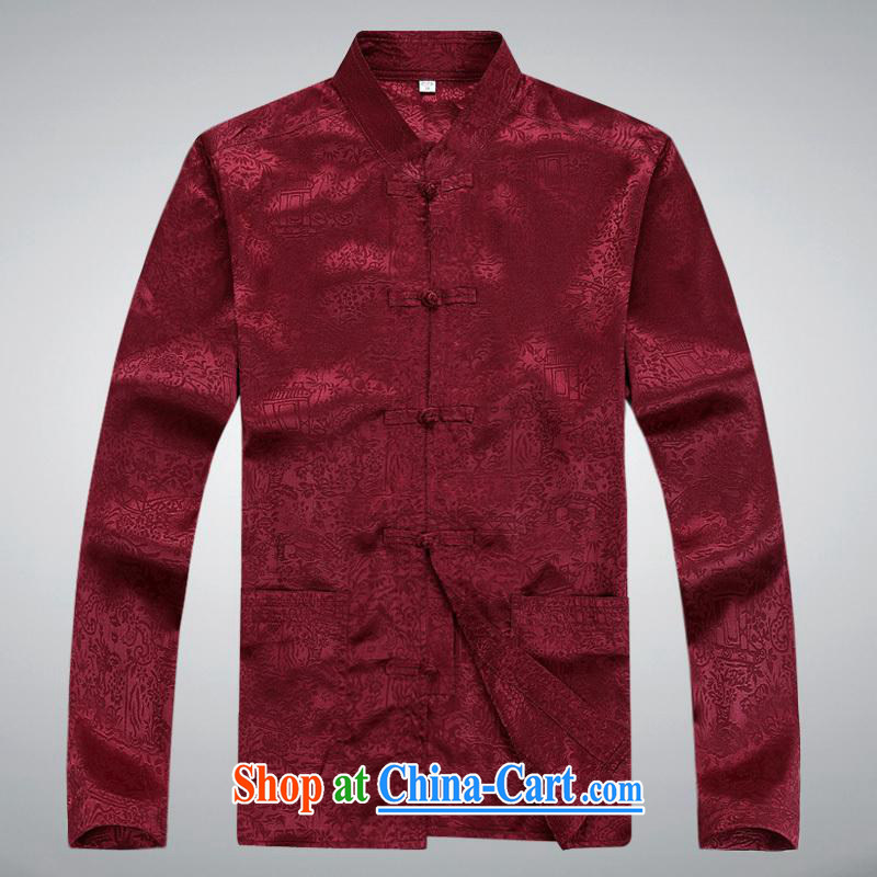 100 brigade BaiLv summer stylish thin, for comfortable long-sleeved tray snap Leisure package deep red XXL
