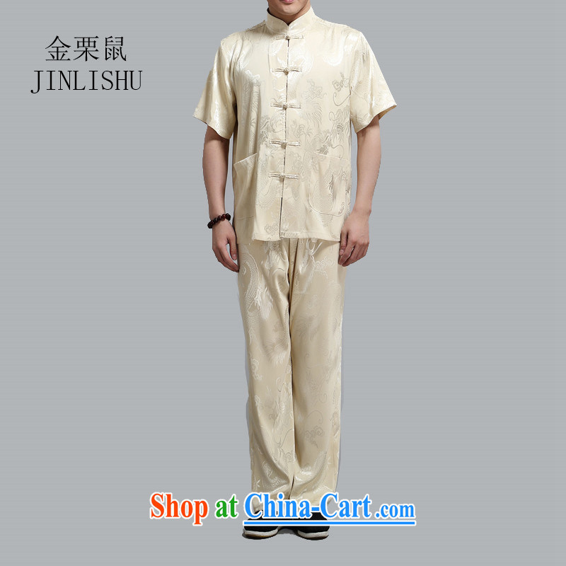 golden poppy mouse summer Chinese men's short-sleeved Tang load package the fat increase, served in older people, dress gold 4 XL