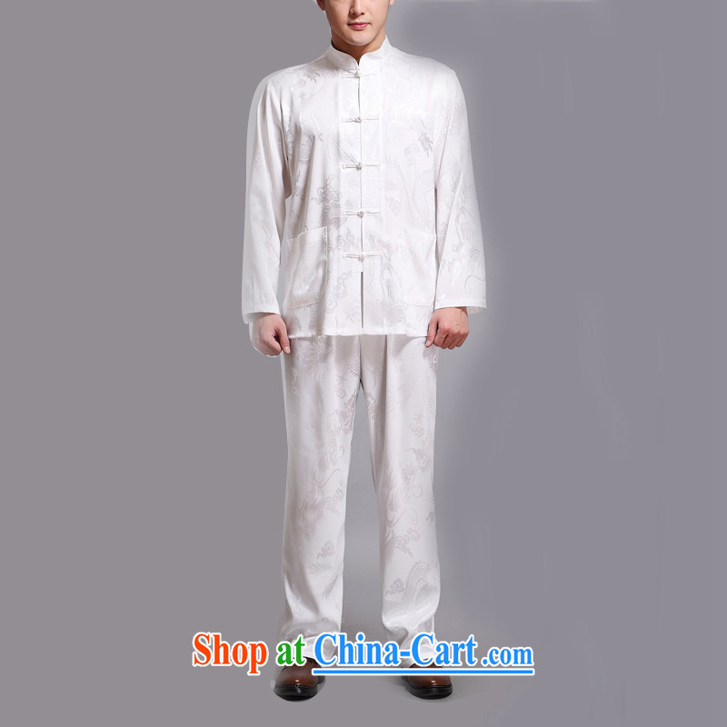 The chestnut mouse elderly Chinese long-sleeved Kit men Han-in smock older, leading the charge-back national dress white 4XL