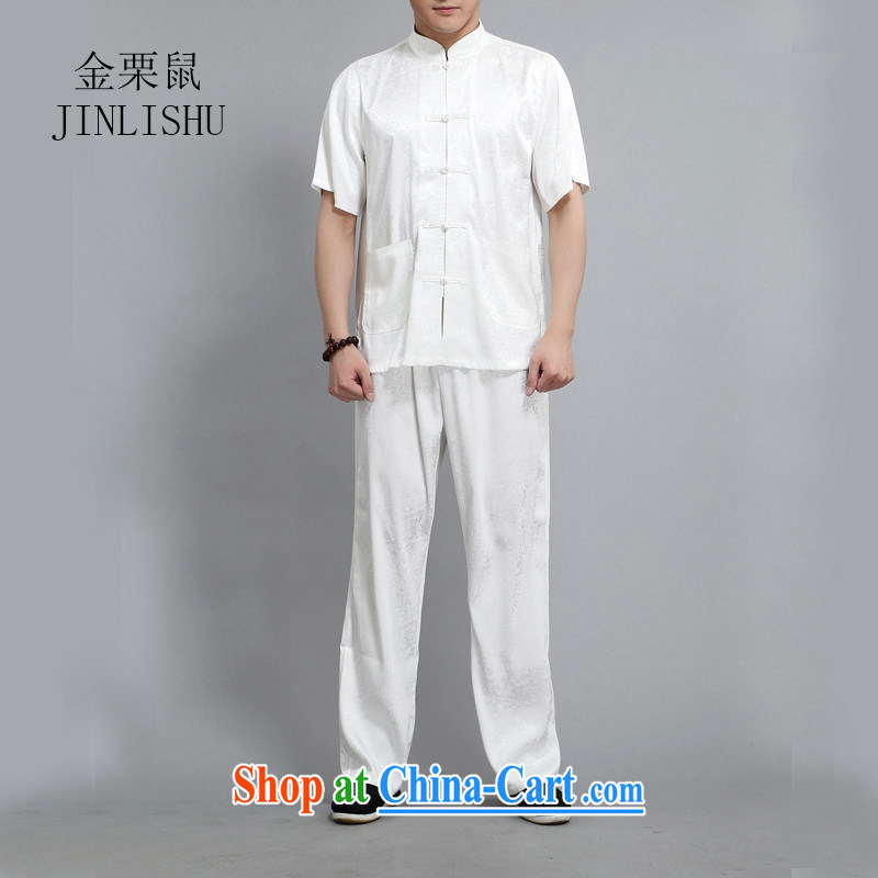 The chestnut Mouse middle-aged and older men's father with Chinese men's summer short sleeve with Ethnic Wind larger half sleeve shirt white 4XL