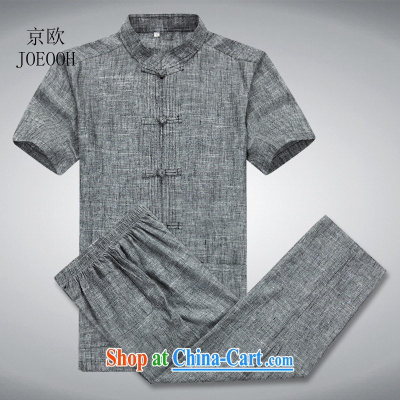 Europe's new summer linen Chinese men in older men's cotton Ma clothing breathable father with dark gray package XL