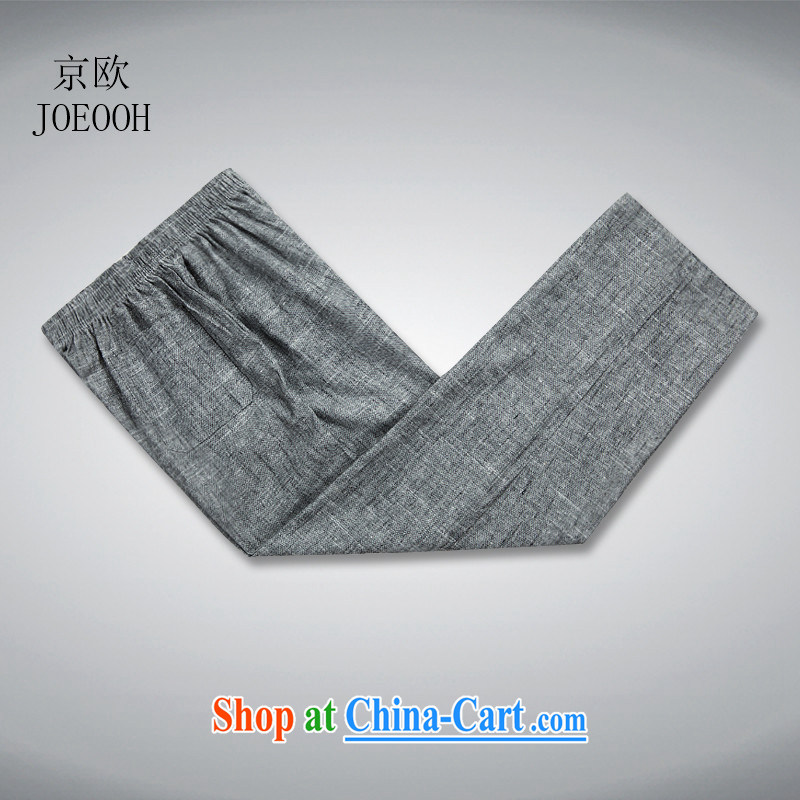 Beijing the Chinese cotton Ma Man Tang is included in the kit older persons linen short-sleeve China wind male Chinese summer dark gray trousers XXL