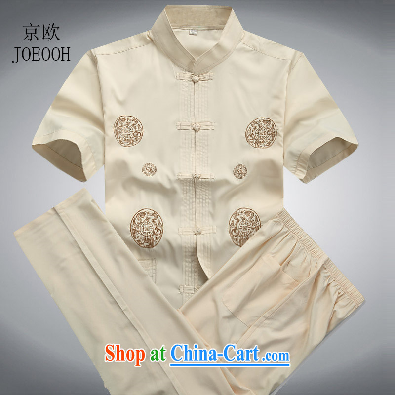 Europe's new Chinese men and summer short-sleeve kit, older leisure thin, for China, Chinese shirt beige Kit XXXL/190