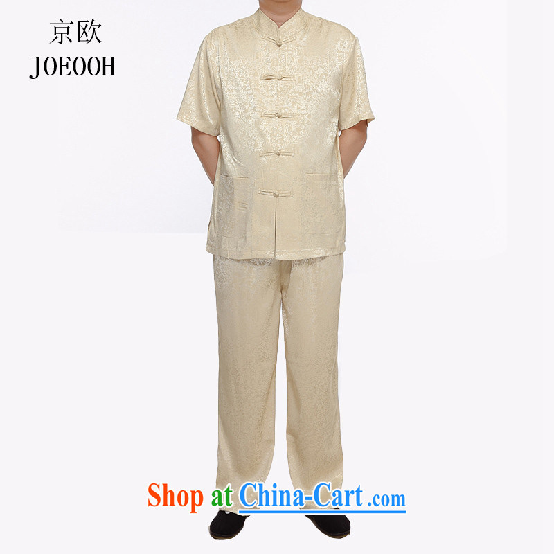 The Beijing Summer 2015 older people in men's short-sleeved tang on the ventricular hypertrophy, short-sleeved Han-chinese package gold XXXL