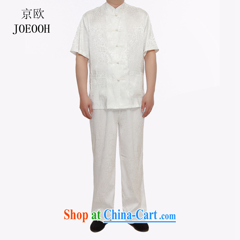 Beijing the Han-summer men's short-sleeved Tang package installed in older persons short-sleeved men's grandfather Tang replace thin summer white XXXL