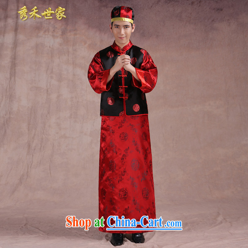 Chinese wedding new unbroken service toast wedding dresses and Sau Wo service costumes happy marriage of the groom's 3 piece red L