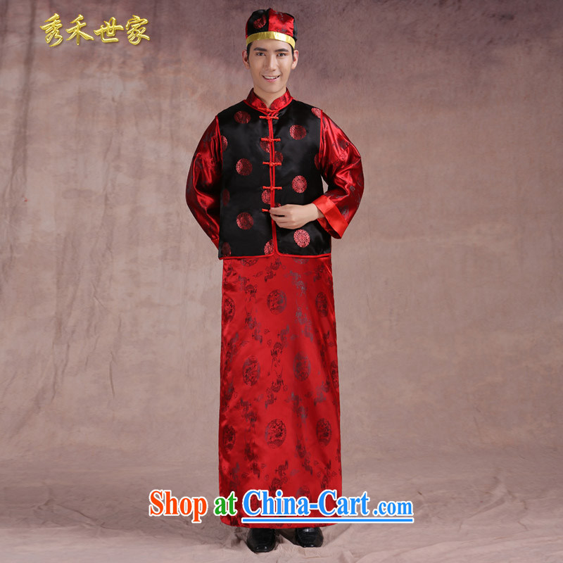 Chinese wedding new unbroken service toast wedding dresses and Sau Wo service costumes happy marriage of the groom's 3 piece red L Sau wo family, shopping on the Internet