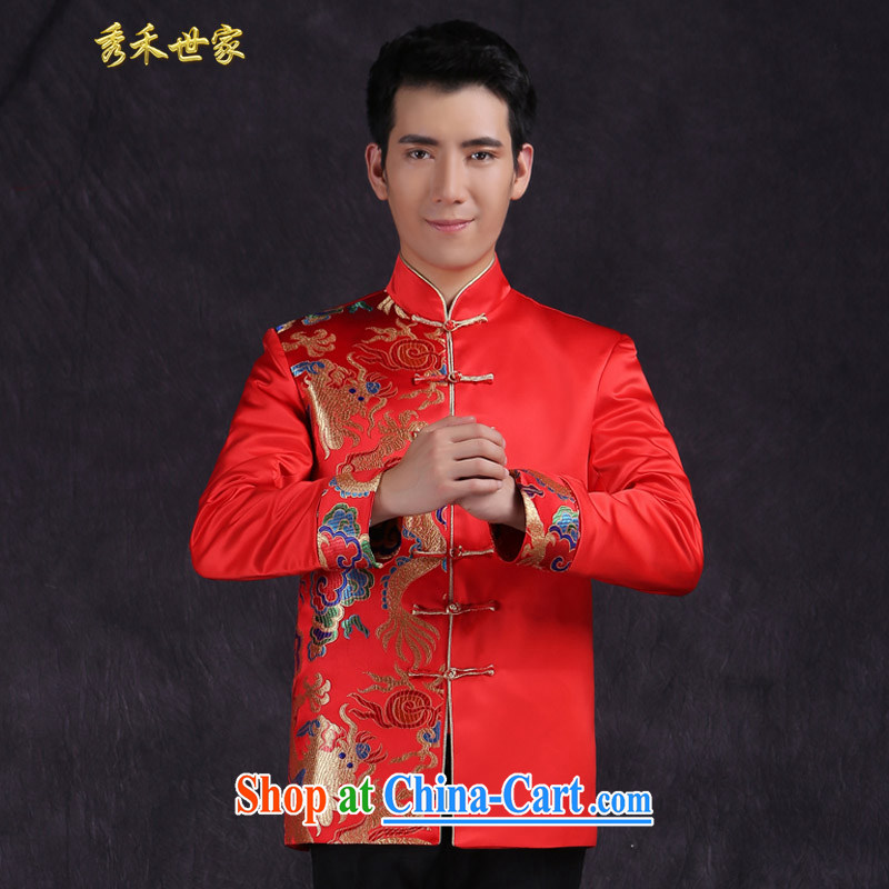 Cyd Ho Sau-wo family Chinese marriage the groom replacing men's Chinese summer Su-wo service, for warm classical hi service wedding dresses toast red M