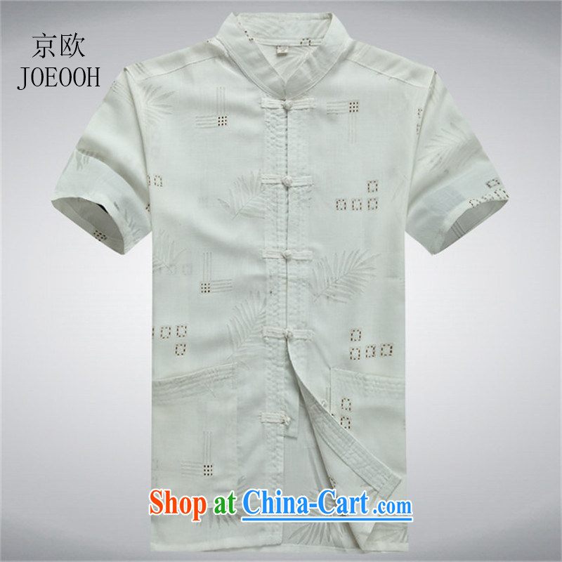 Putin's European linen short-sleeved thin summer short-sleeved Chinese T-shirt Chinese wind men's cotton the Chinese casual half sleeve shirt white XXXL/190