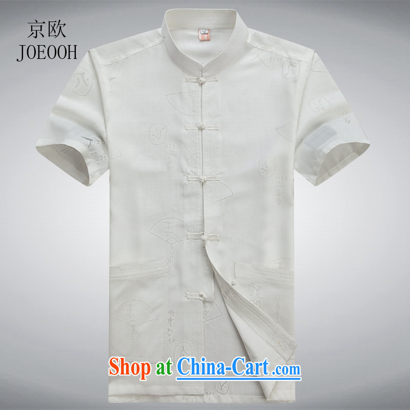 Vladimir Putin in Europe older summer New Men's casual cotton mA short-sleeved Chinese shirt Chinese linen half sleeve T-shirt white L_175