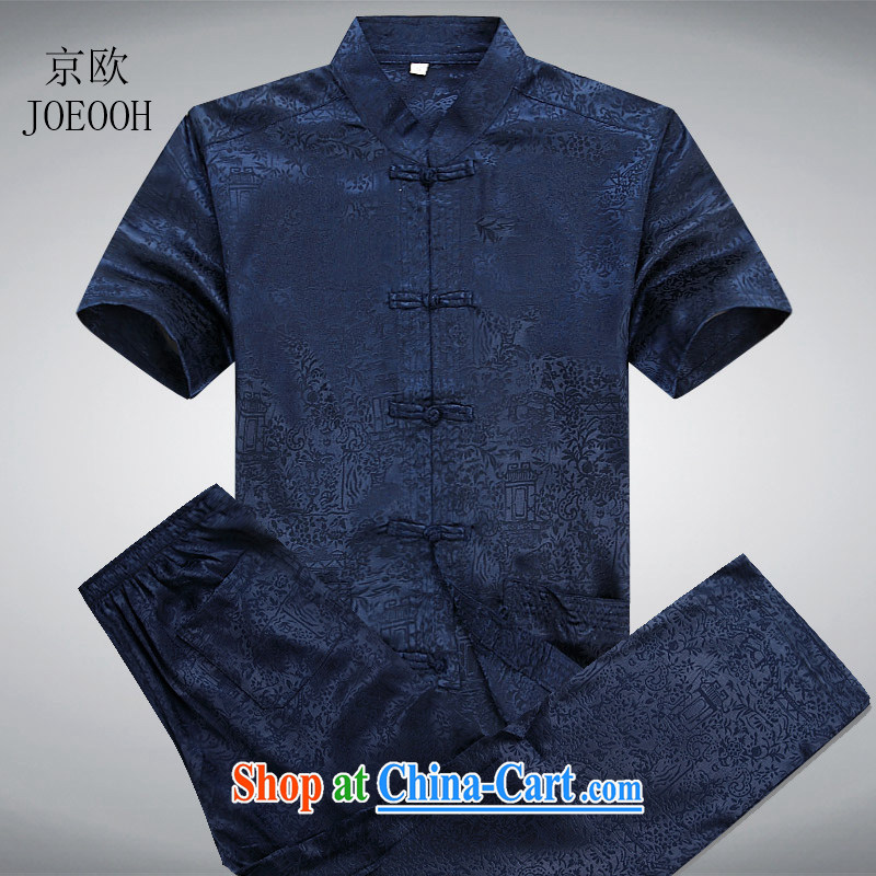 Putin's father the Summer load male Chinese short-sleeve kit, older the River During the Qingming Festival Chinese Chinese Tibetan Blue Kit XXXL/190