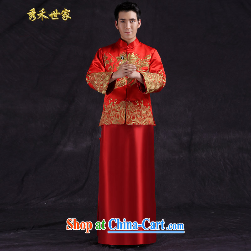 Su-wo family Chinese wedding clothes Chinese Han-costumed show reel service men's wedding dress red groom service eschewed Chinese red M