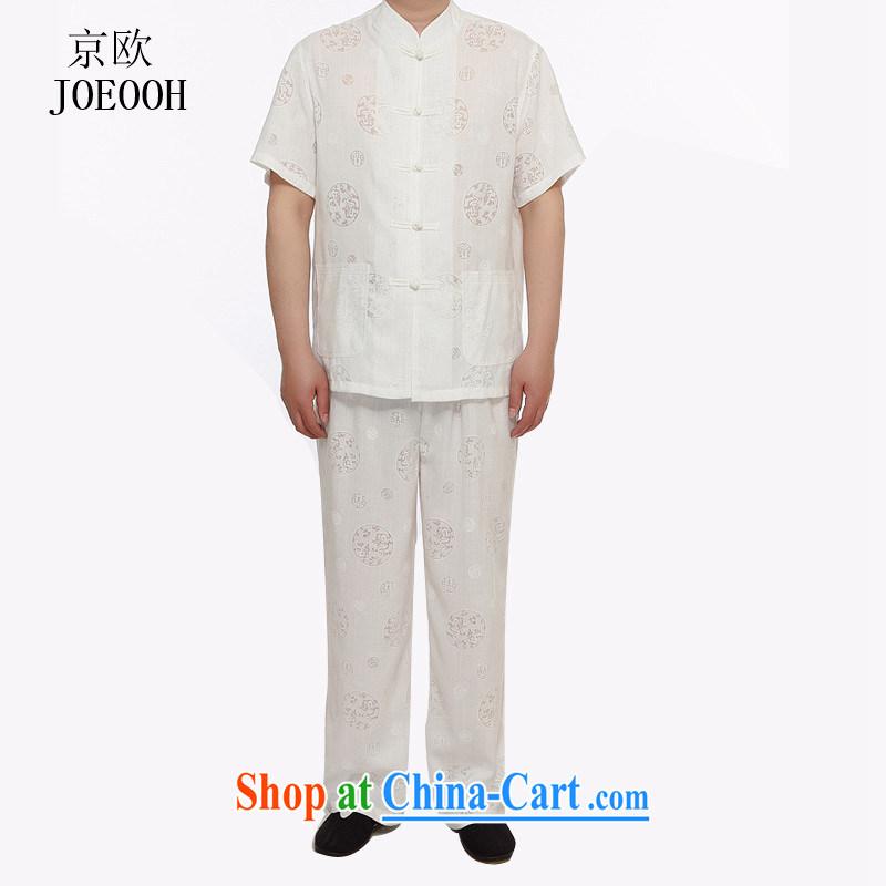 Putin's European Summer new, older leisure short-sleeved linen Tang fitted linen men's Han-short-sleeved Tang package containing white XXXL