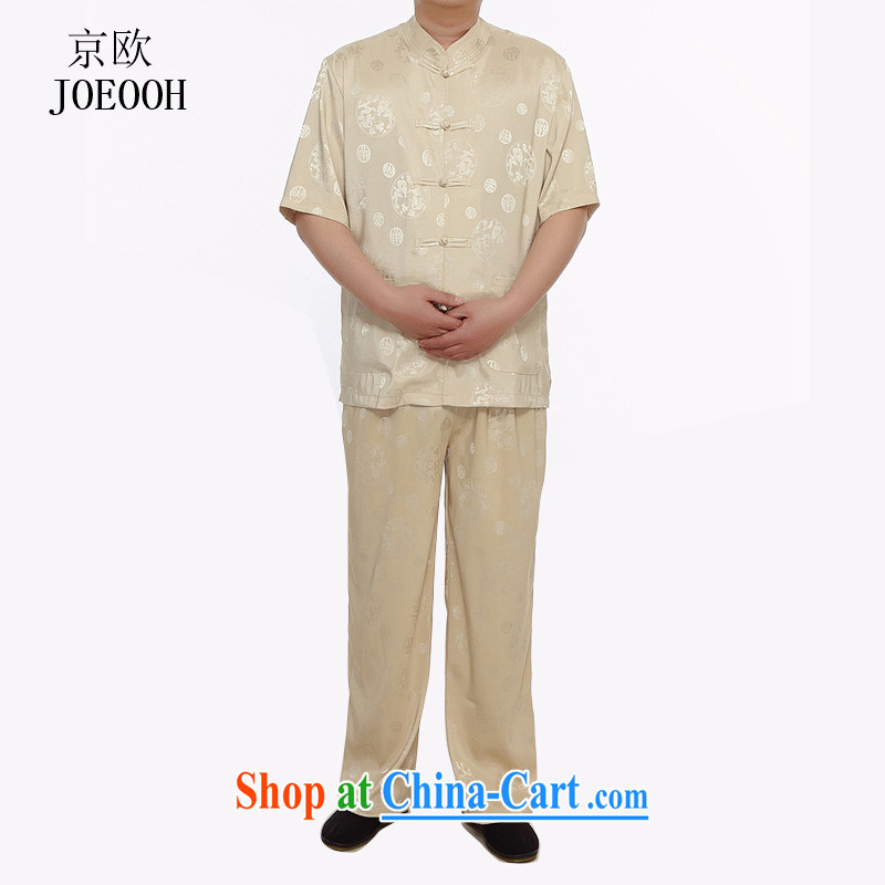 The Beijing summer short-sleeved Tang load package men's short-sleeve kit the ventricular hypertrophy, Han-elderly in national dress gold XXXL