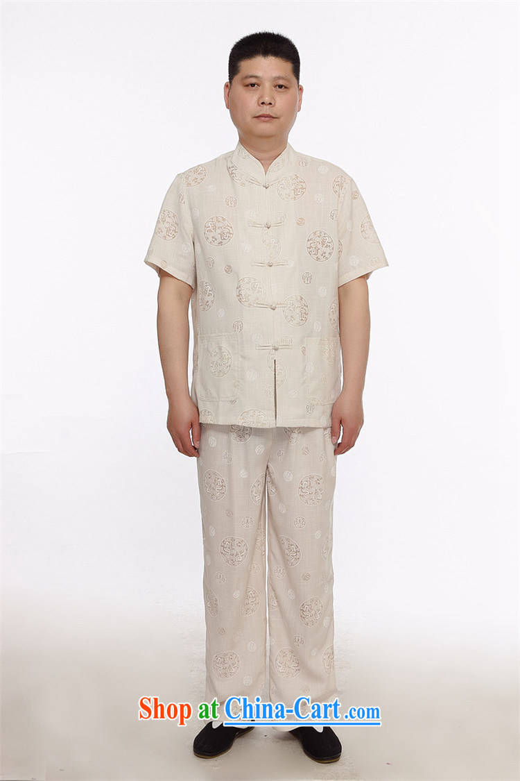 Putin's Europe in summer older linen short-sleeve shirt Tang replace men ethnic wind Tang replace Kit Tai Chi morning workout clothing father with beige XXXL pictures, price, brand platters! Elections are good character, the national distribution, so why buy now enjoy more preferential! Health