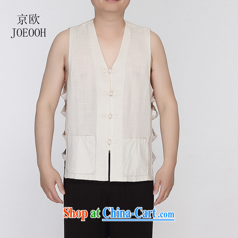 Beijing the Chinese Tang replacing men and a sleeveless eschewed men, summer shoulder a men's T-shirt beige XXXL