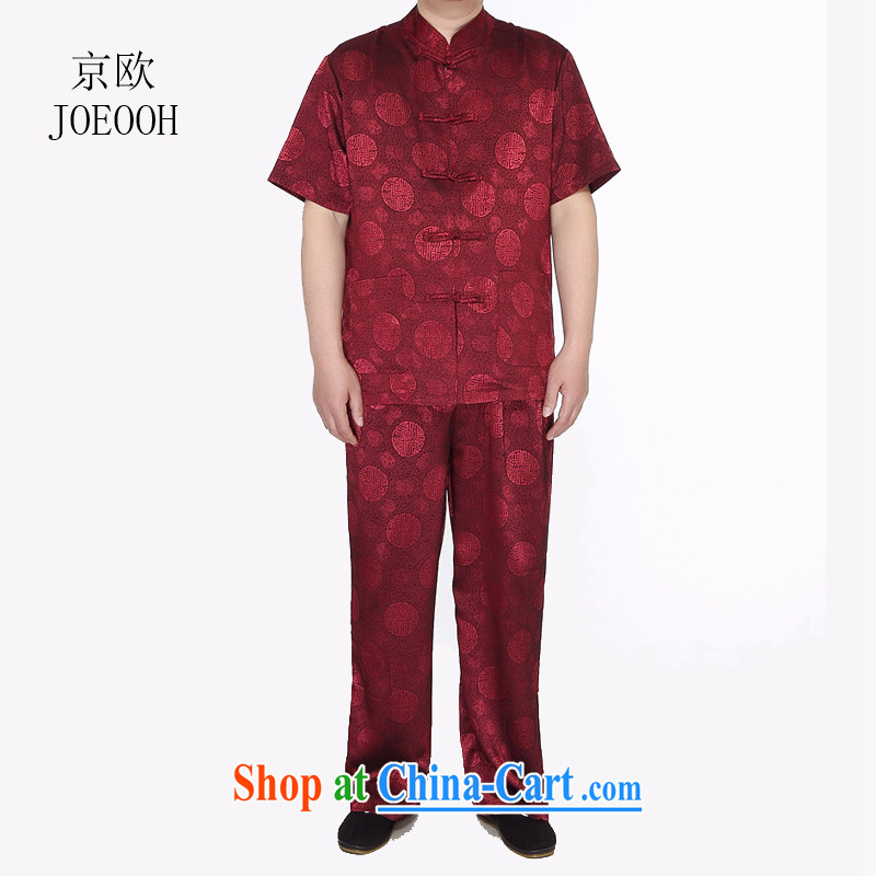 Europe's new in summer, Mr Henry Tang, replacing older package the code father with a short-sleeved shirt China Wind China Red XXXL