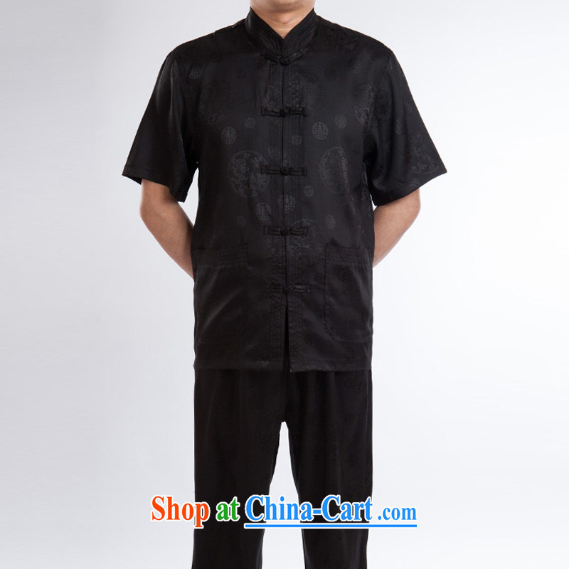 Mr Ronald ARCULLI New China wind elders jogging Chinese men's short-sleeve kit in good old the River During the Qingming Festival Ethnic Wind Jacket black a 190