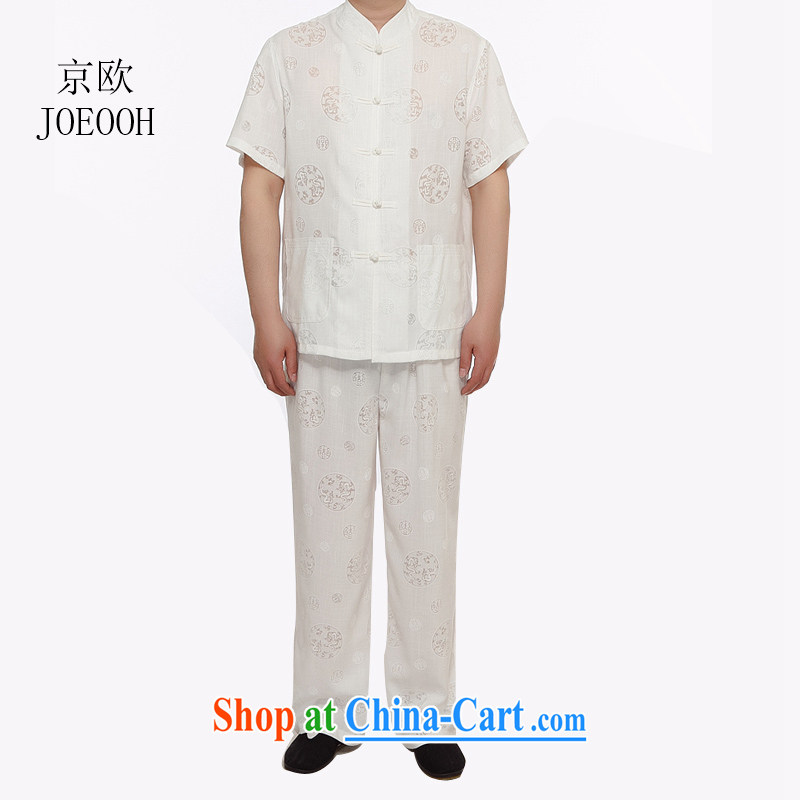 Vladimir Putin in the older summer With Grandpa short sleeve large code Chinese men and set the dragon figure cotton the half sleeve Tang replace linen package white XXXL